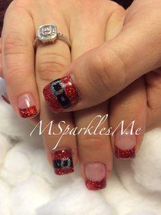 Santa belt nails Xmas Nails, Christmas Nails, Love Nails, Pretty Nails, Navy Acrylic Nails, Paws And Claws, Cute Nail Art, Christmas Projects, Phone Accessories