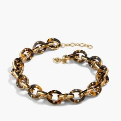 Glittery tortoise link necklace