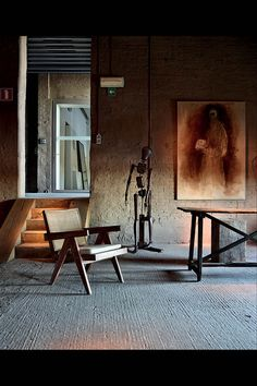 <strong>MIX MASTER</strong> | Another Kanaal showroom features a 1955 V-leg armchair by Pierre Jeanneret, an 18th-century mannequin and a self portrait by the Slovenian painter Zoran Mušič.