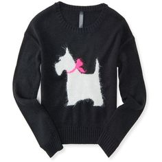 Aeropostale Kids' Scottie Eyelash Intarsia Sweater ($20) ❤ liked on Polyvore featuring tops, sweaters, black, dog top, dog sweater, fur sweater, aeropostale tops and bow top