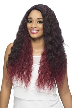 BL-LASHA is a 20 inch wig with layered Spanish wave. Pure stretch cap stretches throughout the entire perimeter inside which lets you wear it comfortably all da Vivica Fox, Natural Hair Styles, Long Hair Styles, Synthetic Wigs, Human Hair Wigs, Virgin Hair, Wig Hairstyles, Pure Products, Beauty