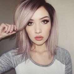 Dark roots, pink hair