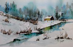 Watercolor Original Painting Winter Blues Maine par pinetreeart