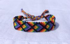 Your place to buy and sell all things handmade Diy Rainbow Friendship Bracelets, Rainbow Chevron, Cotton String, Tie Styles, Cute Bracelets, Purple And Black, Hippie Boho, Handmade, Crafts