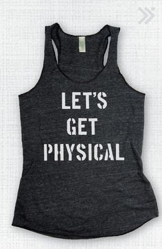 Lets Get Physical Eco Tank Charcoal/White by everfitte on Etsy, $26.00