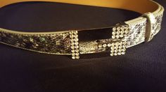 Vintage Guess Sparkle G Belt Genuine  Leather by RareEarthProducts