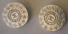 ButtonArtMuseum.com - Lot 2 Coco Chanel Paris Stamped Silver Metal 20mm CC Logo Sister Twins Buttons