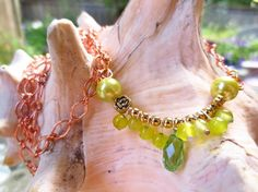 Ladies necklace. Copper chain and green by Somethingissparkling, $20.00
