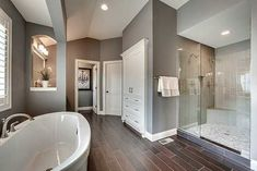 Plan Exclusive Craftsman House Plan With Amazing Great Room - Modern Dream Bathrooms, Beautiful Bathrooms, Large Bathrooms, Small Bathroom, Master Suite Bathroom, White Bathrooms, Master Baths, Luxury Bathrooms, Style At Home