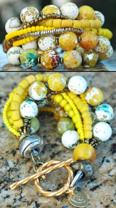 Aboriginal: Faceted Yellow Agate, Bronze, Gold and Silver Multi-Strand Bracelet $195