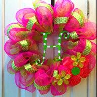 spring mesh wreath with initial