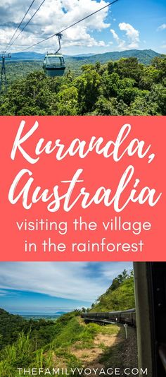 Are you looking for a once-in-a-lifetime experience on your trip to Queensland, Australia? Don't miss the Kuranda Skyrail and Kuranda Scenic Railway! You'll soar through the rainforest canopy and then steam back through gold miners' passes... all in a day's work. Click to find out more about this remarkable village in the rainforest. #Kuranda #Cairns #Queensland #Australia #travel #familytravel #nature
