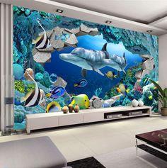 3D Wall Mural Underwater World Photo Wallpaper Interior Art Decoration Dolphin Wallpaper Kids Bedroom TV background wall Ocean
