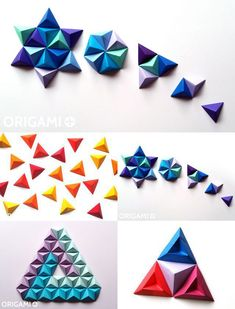 DIY Paper Wall Art with Origami Pyramid Pixels - Easy Tutorial and Decorating Ideas. How to make an origami Pyramid Pixels for Paper Wall Art. Origami 3d, Origami Design, Origami Wall Art, Origami Star Box, Paper Crafts Origami, Origami Easy, Diy Paper, Origami Models, Origami For Beginners