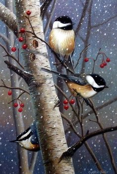 Artist Cynthie Fisher Unframed Chickadee Bird Print Woodland Sprites