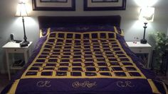 Crown Royal Quilt. 44 Crown Royal bags 42 cut into 5 inch squares (front and back), and 2 cut in half made into pockets in the corners of the quilt. Crown Royal and CR spelled out around the quilt with the cording from the drawn strings. Purple and yellow flannel  finishes this original one of a kind.
