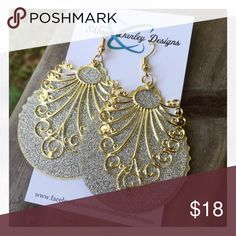 Silver & Gold Filigree Earrings - Handmade! These dual-toned earrings are made with stunning gold filigree pendants overlying silver stardust drops that have complementing gold edging. These are lightweight and very eye-catching! Jewelry Earrings