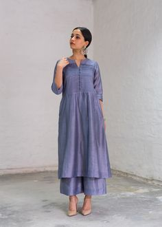 Moon Blue Silk Chanderi Ensemble with Handwork The Effective Pictures We Offer You About beautiful clothes for women A quality picture can tell you many things. You can find the most beautiful picture Silk Kurti Designs, Kurta Designs Women, Dress Indian Style, Indian Dresses, Frock For Women, Indian Designer Suits, Silk Suit, Embroidery Suits, Pakistani Outfits