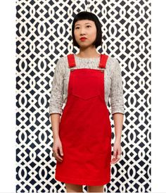 Angela's Cleo dungaree dress - sewing pattern by Tilly and the Buttons