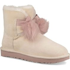UGG Women's Gita Powder Dress Shoes ($170) ❤ liked on Polyvore featuring shoes, beige, fur pom pom shoes, ugg, dress shoes, ugg shoes and loafer dress shoes