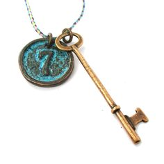 Vintage Skeleton Key and Round Room Number Pendant Necklace in Brass   DOTOLY