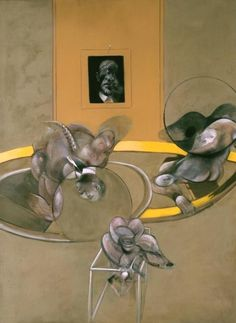 Francis Bacon 'Three Figures and Portrait', 1975 The furious movement of the two principal figures is placed within a claustrophobic setting, watched over by the portrait, which gives this work a striking intensity. It is usually seen as an image of tragic suffering.The bird-like form in the foreground, with its snarling human mouth, has been linked to the Furies, the fearsome agents of divine judgement in Greek mythology.
