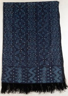 Africa | Shawl from the Wolof people; probably from Mali or Senegal | Damask weave; handsewn 'tritik' resist dyed | ca. 1964