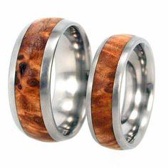 Wood Ring Wedding Band a Titanium Ring with Black Ash Burl Wood Inlay  - Wooden Wedding band on Etsy, $199.00