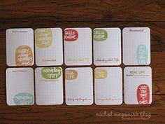 Stamped journaling cards from Nichol Magourik.