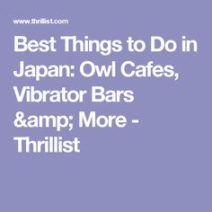 Best Things to Do in Japan: Owl Cafes, Vibrator Bars & More - Thrillist
