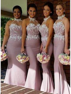 HIGH NECK SWEATHEART ZIPPER BACK LONG SATIN BRIDESMAID DRESS WITH APPLIQUES  Satin Bridesmaid Dresses d12c5106f48d
