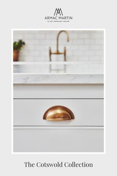 A timeless White Kitchen with Brass Cabinet Hardware featuring our best-selling Cotswold collection drawer pulls, mushroom knobs and catches, all in a charming burnished brass finish. Brass Cabinet Hardware, Kitchen Cabinet Handles, Brass Kitchen, White Kitchen Cabinets, Timeless Kitchen, Bathroom Fixtures, Drawer Pulls, Rustic Style, Own Home