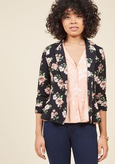 Business is Blooming Floral Blazer in 3X - Mid-length