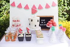 Watermelon Sweet Table from a One in a Melon Watermelon Birthday Party via Kara's Party Ideas KarasPartyIdeas.com (7)