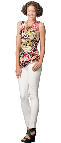Another top from CAbi that works with both my hot pink and green sweaters.