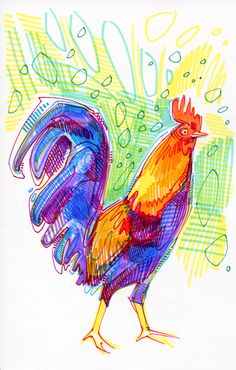 drawing of a rooster