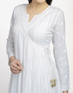 Lucknavi angrakha anarkali in cotton cambric, front panel detail