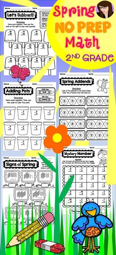 Spring No Prep Math Printables for 2nd Grade - Includes 62 worksheets that require NO PREP. All you need to do is hit print and go! Every page is aligned to the Common Core Math Standards for Grade 2.