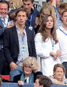 Kate Middleton with her brother, James Middleton, watching the Concert for Diana at Wembley Stadium in London, June 1, 2007.