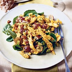 Curried Chicken-Spinach Salad | MyRecipes.com #MyPlate #protein #vegetable