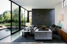 Living room in the Vienna Way residence by Marmol-Radziner.