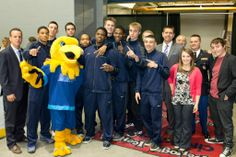 Arvee, the #RockValleyCollege Men's Basketball team, students, Hannah Pryor & David Murphy, all represented #RVC at RVC Night at the Rockford IceHogs game on April 18th, 2014.