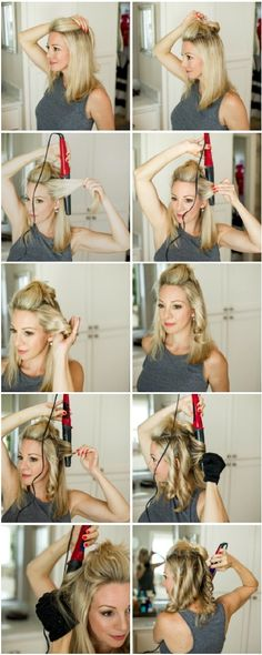 Step by step tutorial with pictures for how to get loose, wavy curls in 10 minutes | Honey We're Home