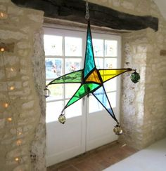 Bohemian Star. Stained Glass Star. Star Suncatcher. Coloured Glass Star. Blue and Green Suncatcher. Unique Star. by Pamela Angus