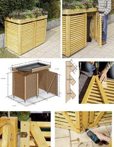 Shed Plans - storage ideas for outdoor recycling bins - Yahoo Image Search Resul. - Shed Plans – storage ideas for outdoor recycling bins – Yahoo Image Search Results – Now You - Garbage Can Shed, Garbage Can Storage, Woodworking Projects Diy, Woodworking Plans, Woodworking Basics, Learn Woodworking, Dvd Storage Solutions, Bike Shed, Building A Shed