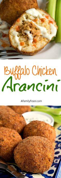 Buffalo Chicken Arancini - A delicious twist on an Italian classic. Fried rice balls stuffed with Buffalo chicken, served with Bleu cheese dipping sauce.