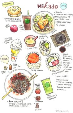 After having my usual breakfast, I went to my favorite Japanese restaurant with my mom at street in New York City. They offer affordable lunch menu! Editorial Illustration, Cute Illustration, Food Sketch, Watercolor Food, Food Painting, Food Journal, Food Drawing, Kitchen Art, Food Illustrations