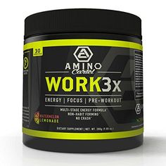WORK3x by Amino Cartel  MultiStage PreWorkout  Crossfit  Bodybuilding Energy Endurance Focus  NO Booster  Creatine Free  TeaCrine Agmatine and Citruline  30 Servings  Watermelon Lemonade * Review more details @