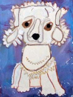 Poodle Dog Portrait, Acrylic Paint & Oil Pastel, Mod 7 years