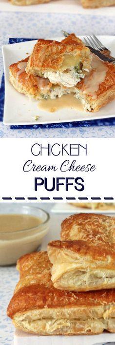Chicken, Cream Cheese & Broccoli Puffs #chicken #chickendinner #dinnertonight #puffpastry #chickenpuffs #creamcheesechicken